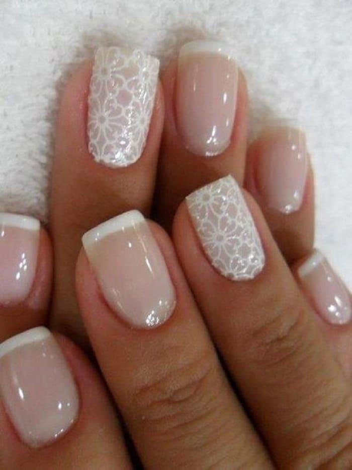 manicure para novias con encaje